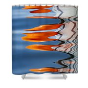 Water Reflection Of Orange Blobs And Black Zig Zagging Lines Shower Curtain
