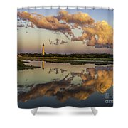Reflection Of Clouds And Lighthouse Shower Curtain