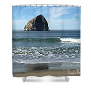 Reflection Of Haystock Rock  Shower Curtain