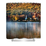 Reflection Of Little White Church With Fall Foliage Shower Curtain