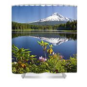 Reflection Of Mount Hood In Trillium Shower Curtain by Craig Tuttle