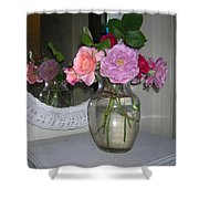 Reflection Of Roses Shower Curtain