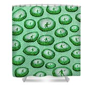 Reflection Of Waving Man In Water Droplets On Green Shower Curtain