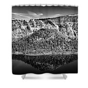 Reflection Of Wizard Island Crater Lake B W Shower Curtain