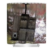 Reflection Of Wood Duck Box In Pond Shower Curtain