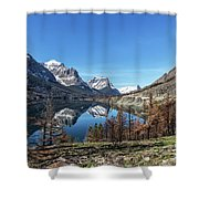 Reflection On St Mary Lake Through Burned Trees Shower Curtain