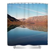 Mountains Reflected On A Beautiful Lake Shower Curtain