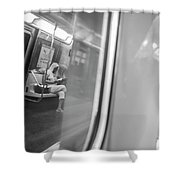 Reflections In New York City Subway Shower Curtain by Ranjay Mitra