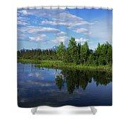 Reflections Lake Pioneer Peak Alaska Shower Curtain