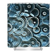 Reflections Of A Fractal Fossil Shower Curtain