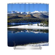 Reflections Of Pikes Peak In Crystal Reservoir Shower Curtain