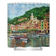 Reflections Of Portofino Shower Curtain by Charlotte Blanchard