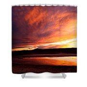 Reflections Of Red Sky Shower Curtain