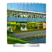 Reflections Of The Halls Mill Covered Bridge Shower Curtain