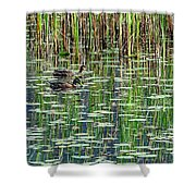 Reflections On Duck Pond Shower Curtain