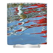 Reflections - Red White Blue Shower Curtain