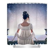 Regency Woman Looking At The Stars In The Night Sky  Shower Curtain