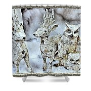 Reindeer And Owls Holiday Celebration 2 Shower Curtain