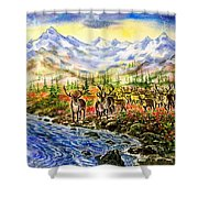 Reindeer Herd At The Watering Hole. Shower Curtain