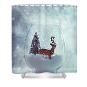 Reindeer In Glass Snow Globe  Shower Curtain