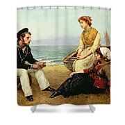 Relating His Adventures Shower Curtain