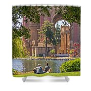 Relaxing At The Palace Shower Curtain by Kate Brown
