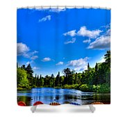 Relaxing On The Moose River Shower Curtain
