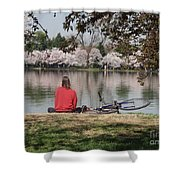 Relaxing Under Cherry Blossoms Shower Curtain
