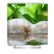 Reflected Little Stinger Taking A Sip 2 By Chris White Shower Curtain