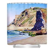 Remains Of Ancient Constructions On Seacoast  Shower Curtain