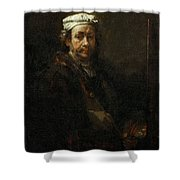 Rembrandt At The Easel Rembrandt Harmenszoon Van Rijn Shower Curtain
