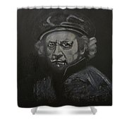 Rembrandt Black And White Shower Curtain