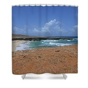 Remote Daimari Beach With Waves Rolling Ashore Shower Curtain
