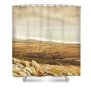 Remote Roads And Foggy Coastlines Shower Curtain