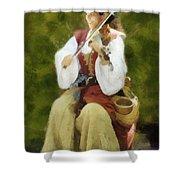 Renaissance Fiddler Lady Shower Curtain