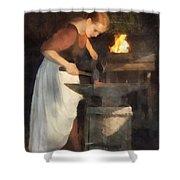 Renaissance Lady Blacksmith Shower Curtain