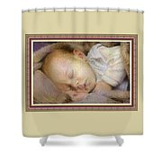 Renoircalia Catus 1 No. 2 - Adorable Baby L B With Decorative Ornate Printed Frame. Shower Curtain