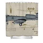 Republic A-10 Thunderbolt II - Profile Art Shower Curtain