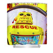 Rescue Yellow Bot Shower Curtain