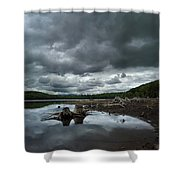 Reservoir Logs Shower Curtain