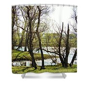 Resevoir In The Calf Pasture Shower Curtain