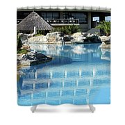 Resort With Swimming Pool Shower Curtain
