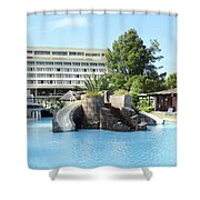 Resort With Swimming Pool Summer Vacation Scene Shower Curtain