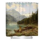 Resting By The Mountain Lake Shower Curtain