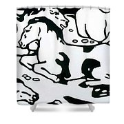 Resting Horses 1912 Shower Curtain