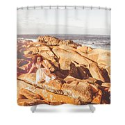 Resting On A Cliff Near The Ocean Shower Curtain