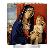 Restored Old Master Madonna And Child  Shower Curtain