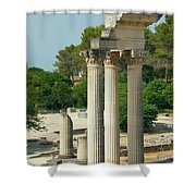 Restored Roman Columns In Glanum Shower Curtain