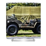 Restored Willys Jeep And Tent At Fort Miles Shower Curtain
