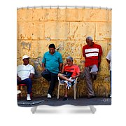 Retired Men And Yellow Wall Cartegena Shower Curtain